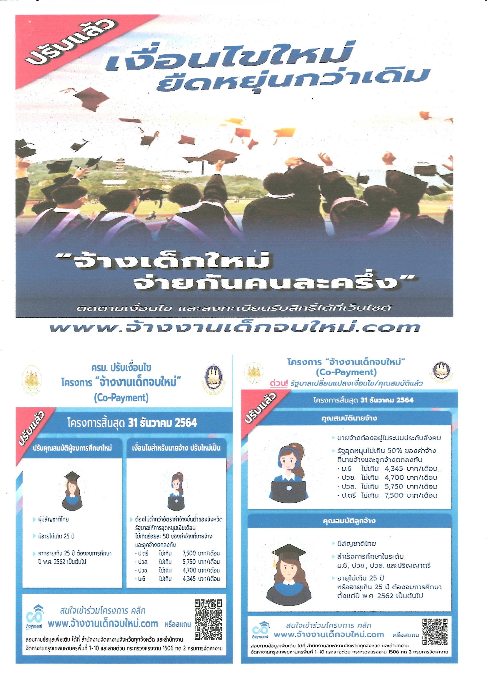 ประชาสัมพันธ์ โครงการส่งเสริมการจ้างงานใหม่สำหรับผู้จบการศึกษาใหม่ โดยภาครัฐและเอกชน (Co-Payment)