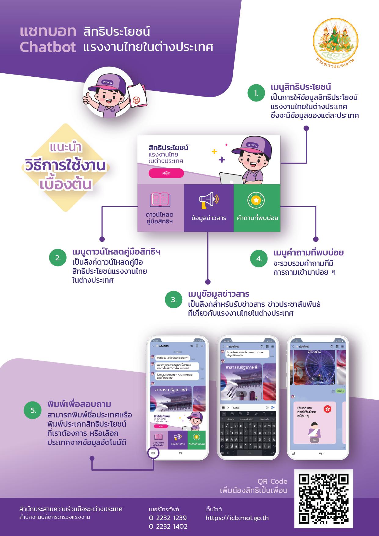 ประชาสัมพันธ์ ระบบตอบข้อมูลสิทธิประโยชน์แรงงานไทยในต่างประเทศแบบอัตโนมัติ (Chatbot)